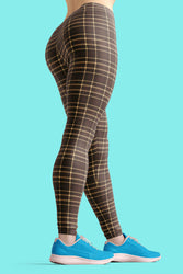 Tartan-design-brown-yellow-elegant-classic-leggings