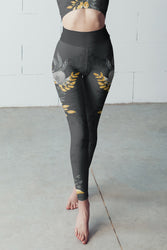 Flowers-black-grey-yellow-gold-women-yoga-leggings