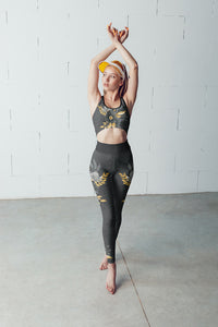 Flowers-black-grey-yellow-gold-women-padded-sports-bra-leggings
