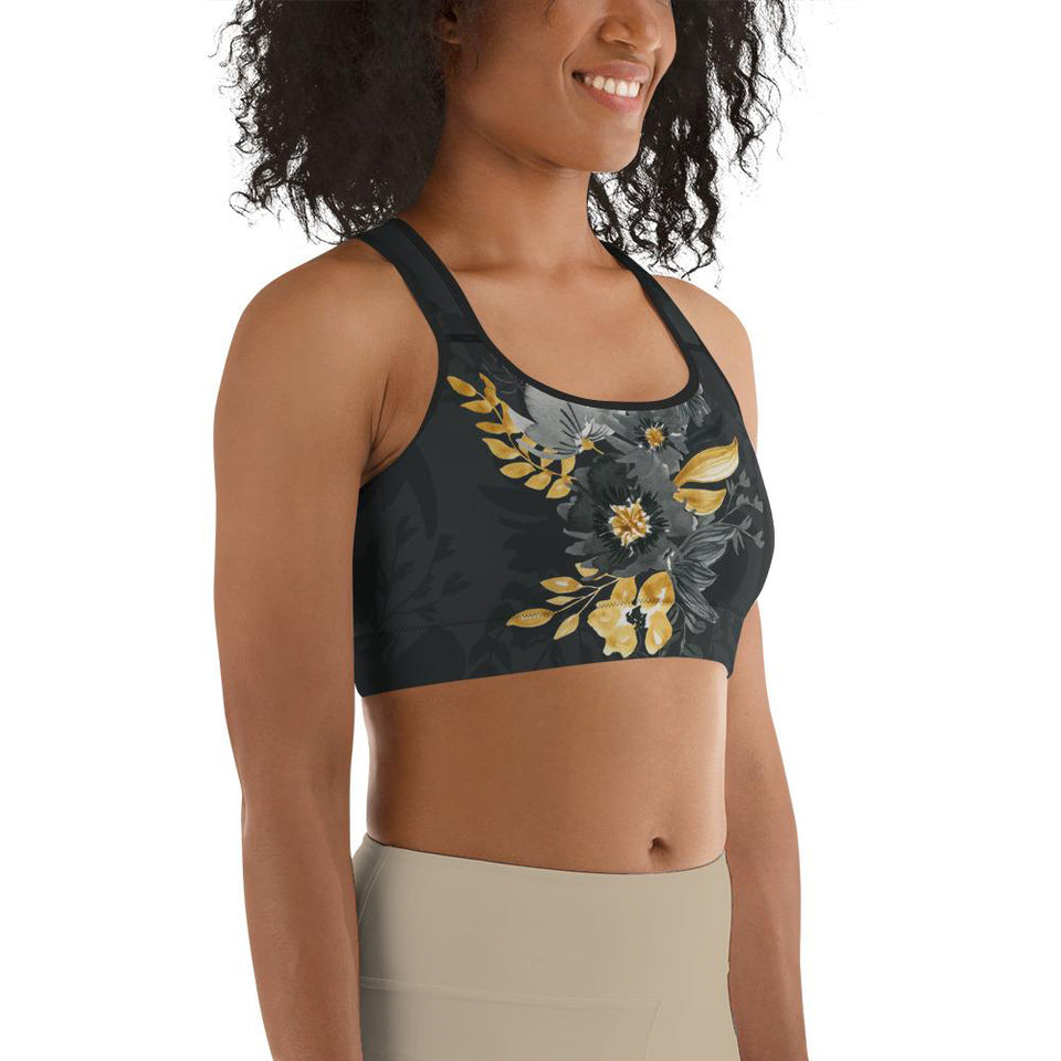 Flowers-black-grey-yellow-gold-women-padded-sports-bra-3