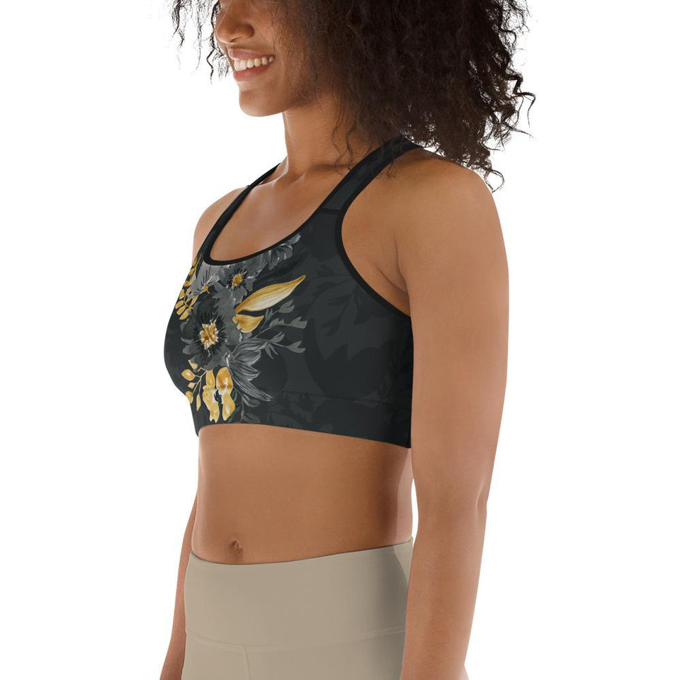 Flowers-black-grey-yellow-gold-women-padded-sports-bra-4