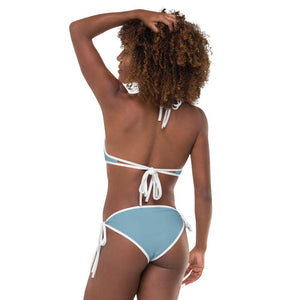 Japanese Forest and Light Blue Reversible Bikini