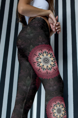 night-devi-black-and-redish-pink-mandala-chic-yoga-capri-leggings