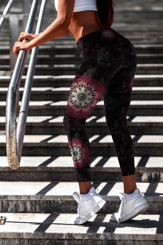 night-devi-black-and-redish-pink-mandala-chic-yoga-leggings