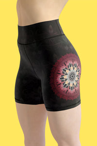 night-devi-black-and-redish-pink-mandala-chic-yoga-shorts