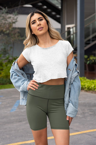 neutral-olive-green-yoga-shorts