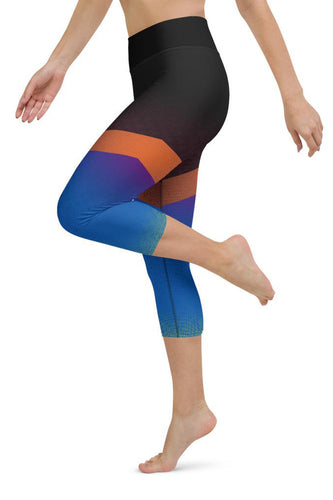 Shine Blue Yoga Capri Leggings