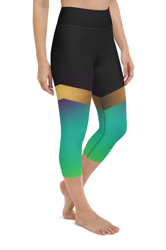 Shine Green Yoga Capri Leggings