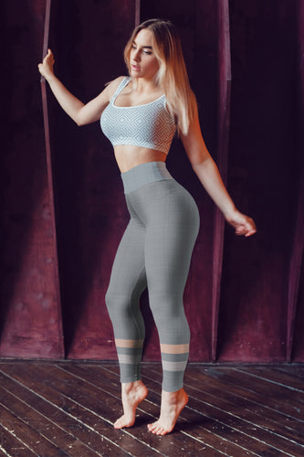 Gray-Cream-sporty-stripes-elegant-women-yoga-leggings-all-the-time