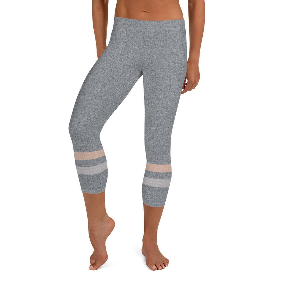 Gray-Cream-sporty-stripes-elegant-women-urban-capri-leggings