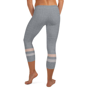 Gray-Cream-sporty-stripes-elegant-urban-capri-leggings