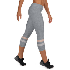 Gray-Cream-sporty-stripes-elegant-women-urban-capri-leggings-chic