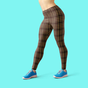 Tartan-brown-yellow-elegant-classic-leggings