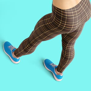 Tartan-brown-yellow-elegant-classic-leggings-chic
