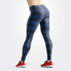 Tartan-design-navy-blue-pink-leggings-women-elegant