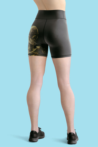 van-gogh-skeleton-yoga-shorts-for-women