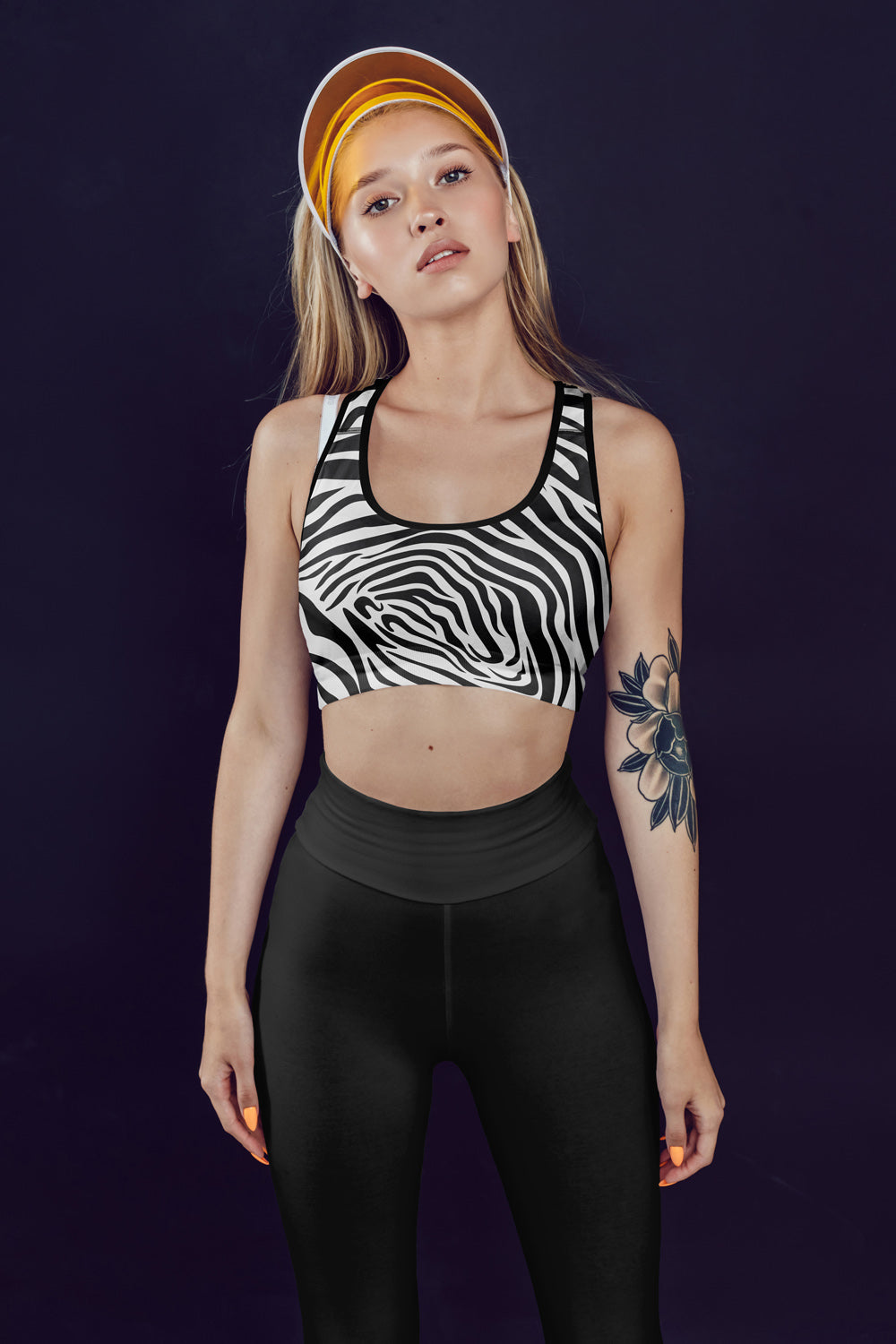 zebra-animal-print-cute-women-padded-sports-bra-black-white-leggings-charcoal