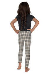 Tartan-olive-green-beige-elegant-classic-leggings-kids-girls