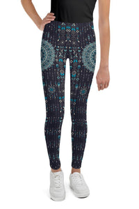 chalchi-aztec-mandala-geometric-navy-blue-jade-green-youth-leggings