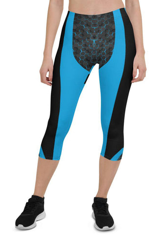 Womens Blue Cyberpunk Capri Leggings for Yoga, Workouts, Loungewear