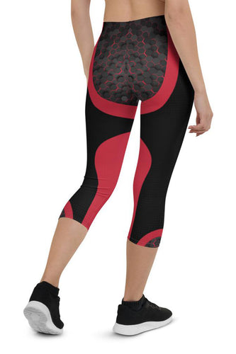 Womens Pink Cyberpunk Capri Leggings for Yoga, Workouts, Loungewear back