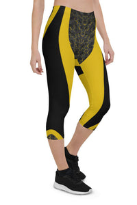 Womens Yellow Cyberpunk Capri Leggings for Yoga, Workouts, Loungewear