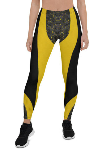 Womens Yellow Cyberpunk Leggings for Yoga, Workouts, Running