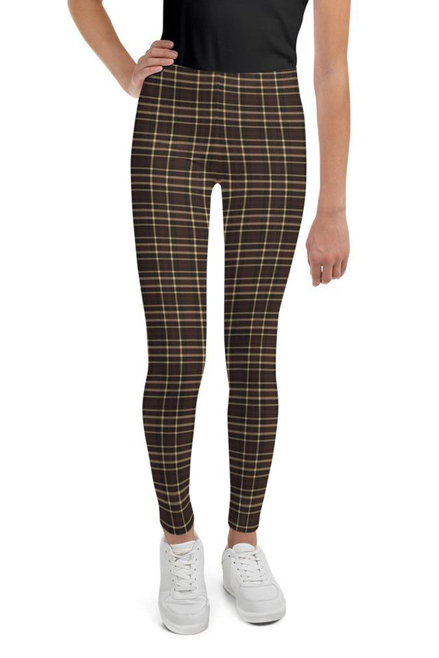 Tartan-brown-yellow-elegant-classic-leggings-youth-shop
