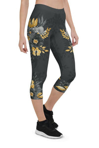 Flowers-black-grey-yellow-gold-women-urban-capri-leggings