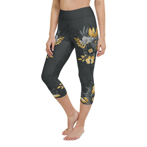 Flowers-black-grey-yellow-gold-women-yoga-capri-leggings-chic