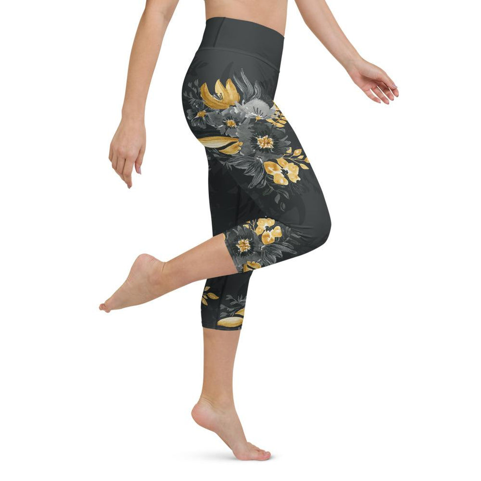 Flowers-black-grey-yellow-gold-women-yoga-capri-leggings-1