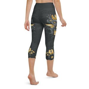 Flowers-black-grey-yellow-gold-women-yoga-capri-leggings-2