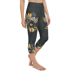 Flowers-black-grey-yellow-gold-women-yoga-capri-leggings-3