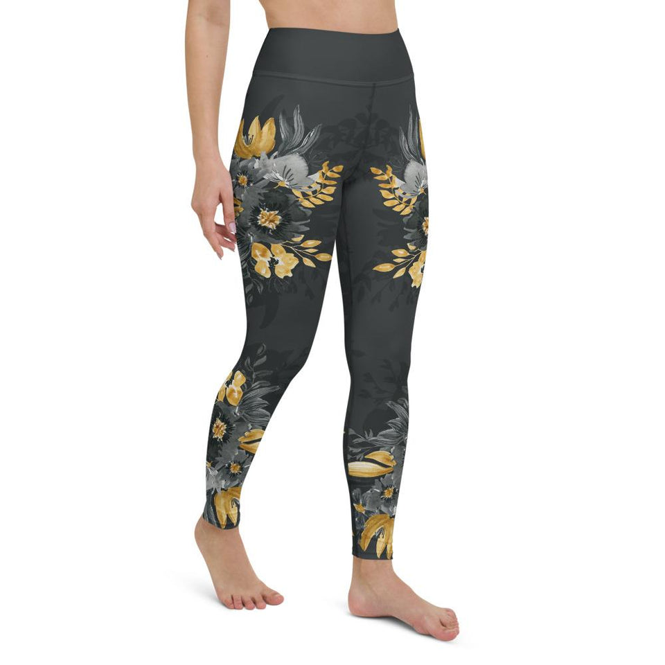 Flowers-black-grey-yellow-gold-women-yoga-leggings-elegant