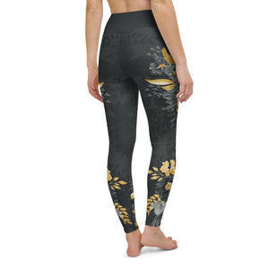 Flowers-black-grey-yellow-gold-women-yoga-leggings-chic
