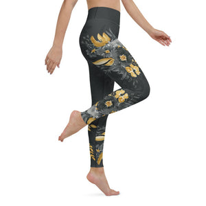 Flowers-black-grey-yellow-gold-women-yoga-leggings-1