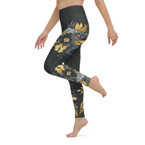 Flowers-black-grey-yellow-gold-women-yoga-leggings-2
