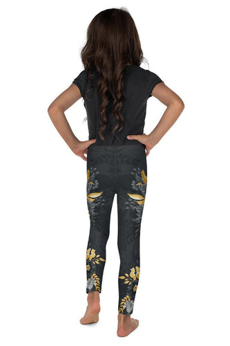 Flowers-black-grey-yellow-gold-kids-leggings