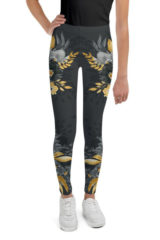 Flowers-black-grey-yellow-gold-youth-leggings