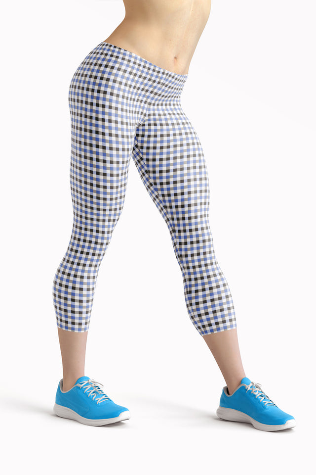 gingham-blue-grey-white-elegant-classic-women-leggings-capri