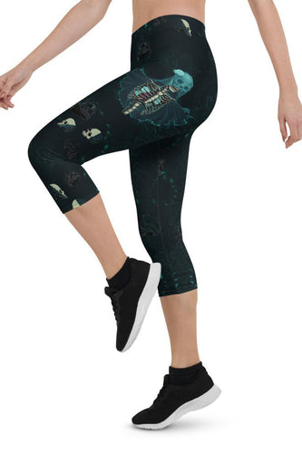 Halloween Skull Bride Urban Capri Leggings