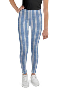 linen-print-texture-striped-light-blue-white-design-elegant-leggings-youth-teens-girls