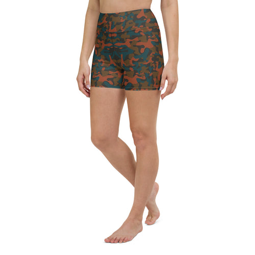 Rust Camo Yoga Shorts