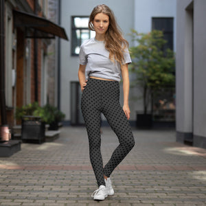 polka-dots-charcoal-gray-black-yoga-leggings-woman
