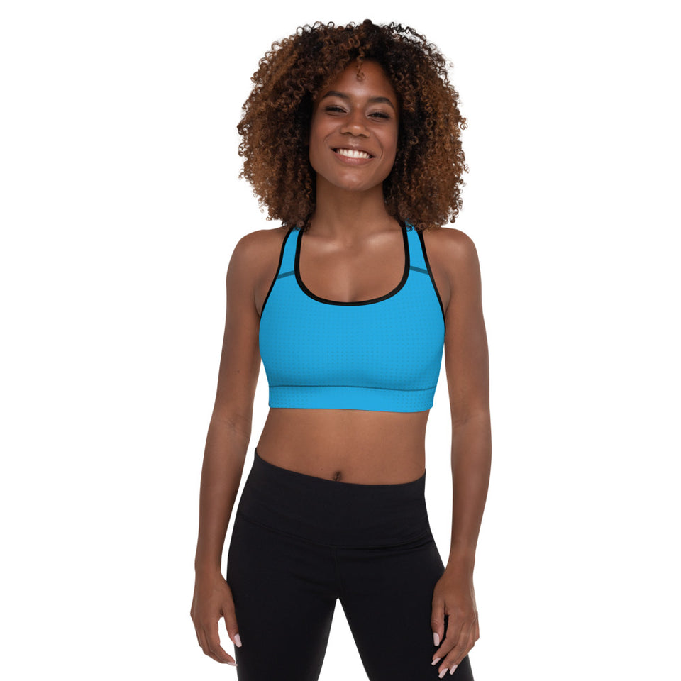 Blue Cyberpunk Padded Sports Bra