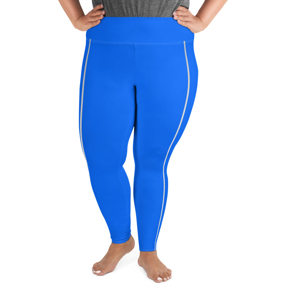 Sporty Stripes II Beauty Blue Super Curvy Leggings