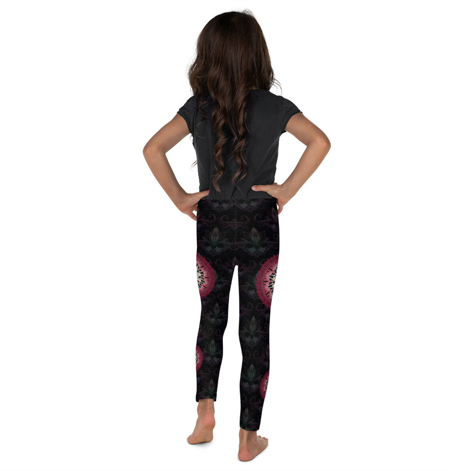 black red mandala kids girls leggings 3