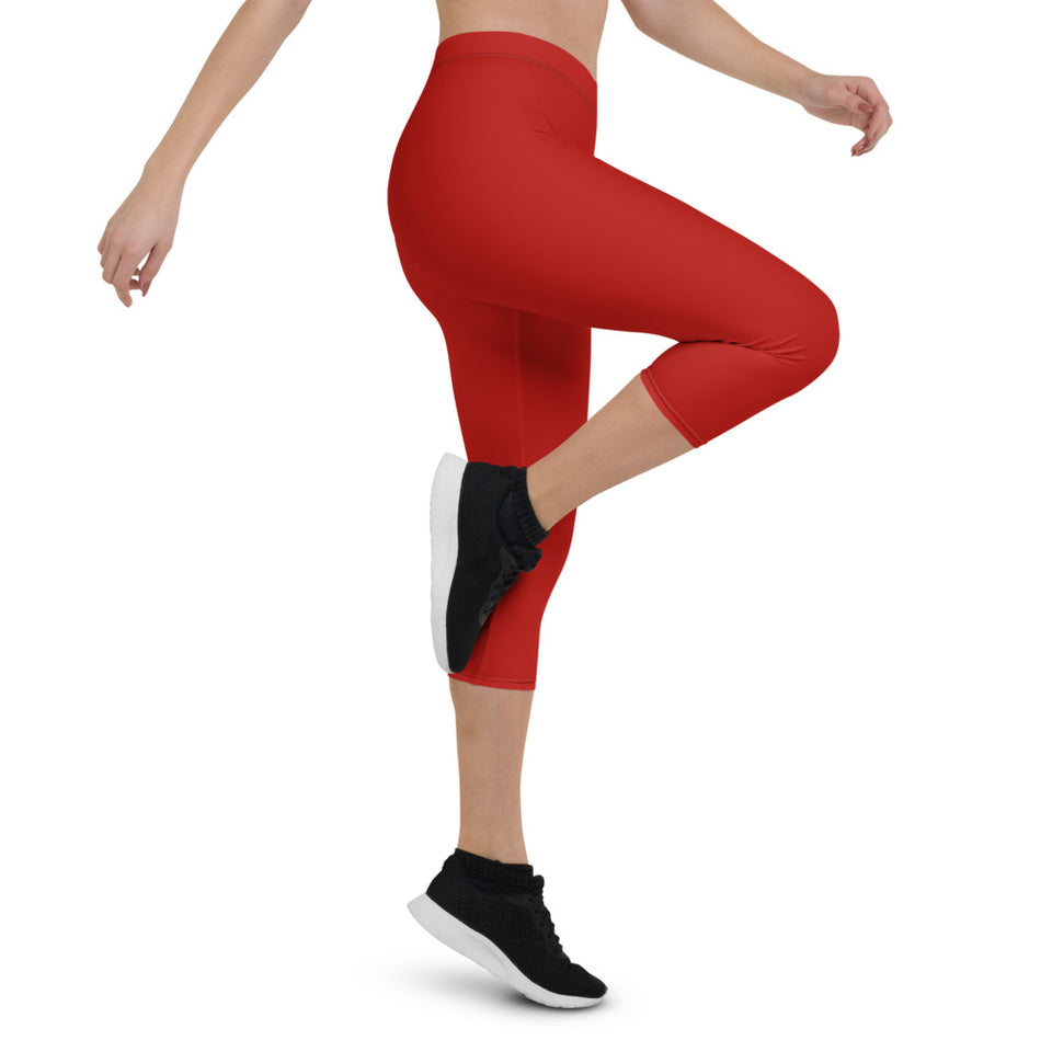 Crimson Red Urban Capri Leggings