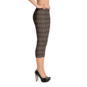 Tartan-brown-yellow-elegant-classic-capri-leggings-women-shop-chic