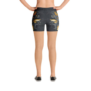 Flowers-black-grey-yellow-gold-women-urban-shorts-chic-flora
